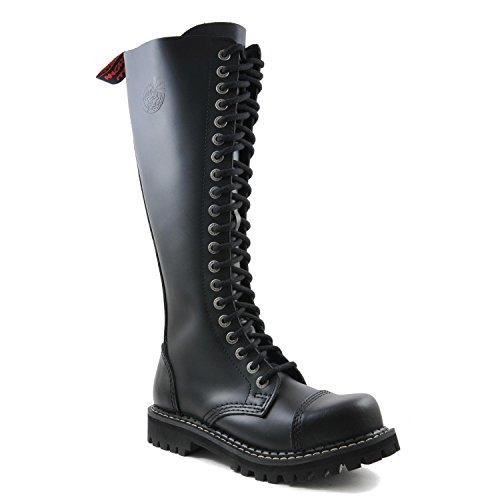 ANGRY ITCH - 20-Loch Gothic Punk Army Ranger Leder Schwarz Armee Stiefel mit RV & Stahlkappe - Größen 36-48 - Made in EU!, EU-Größe:EU-48