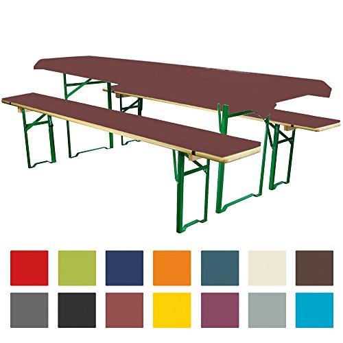 Heimtex Direkt Bierbankauflagen Set 3teilig Comfort XS in versch. Farben und Größen für 50cm Tische Braun