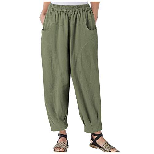 WGNNAA Damen Pumphose Haremshosen Einfarbige Hose Jogginghose Große Größen Sommerhose Knöchellang Komfort Gerade Hosen mit weitem Bein