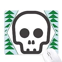 無言の黒い骸骨の絵文字 オフィスグリーン松のゴムマウスパッド