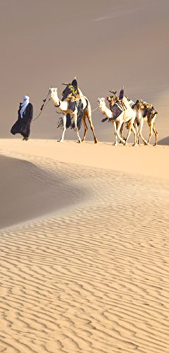 Deurposter zelfklevend - karawane in de woestijn - 90x205cm en 100x210cm - fotobehang poster deurfolie behang - T00142