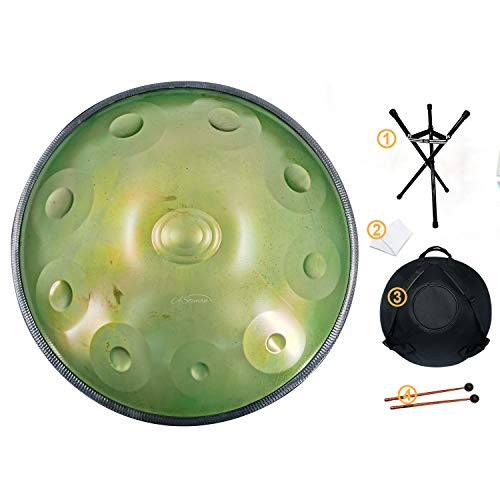 Handpan drum instrument, AS TEMAN handpan in handpan in D Minor 10 Notes 22 inches Steel Hand Drum with Soft Hand Pan Bag, 2 handpan mallet,Handpan...