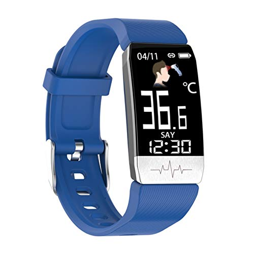 YNLRY Reloj inteligente con temperatura corporal ECG, monitor de ritmo cardíaco, control de música, banda deportiva, reloj inteligente para iOS Android (color: azul)