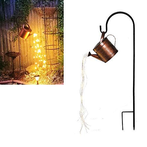 Star Shower Garden Art Light Decoration,Silver Wire Vine Solar Lights,Stars Showing Led String Light,Watering Can Art Night Light for Yard Garden Path Lamp Lights (with Bracket)