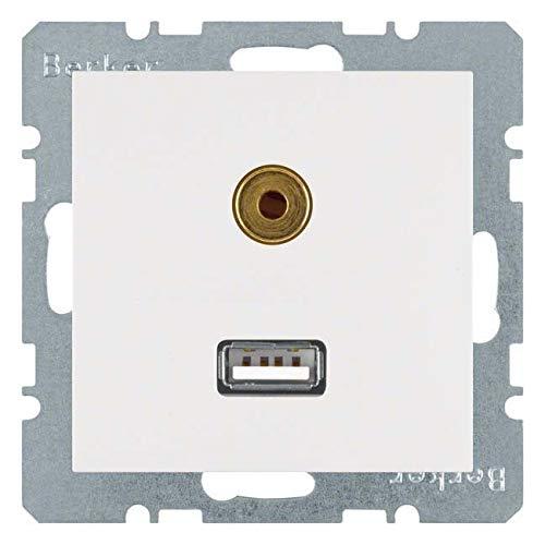 Hager - stopcontact USB 3,5 mm Audio S wit Polar mat