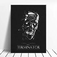 ターミネーターブラックホワイトクラシック映画ポスターウォールアート画像キャンバスポスターとプリントHDプリント油絵壁画リビングルーム家の装飾フレームレス