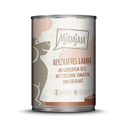 MjAMjAM - Premium Nassfutter für Hunde - herzhaftes Lamm an gekochtem Reis mit frischen Tomaten, 1er Pack (1 x 400 g), naturbelassen mit extra viel Fleisch
