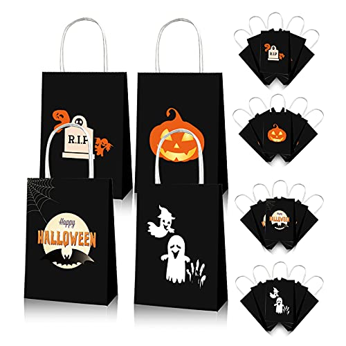 Vanproo 12 Pcs Halloween Paper Treat Bags Trick or Treat Halloween Candy Bags, Glow in The Dark Bags with Handles for Halloween Party Favors Goodie Bags Party Supplies