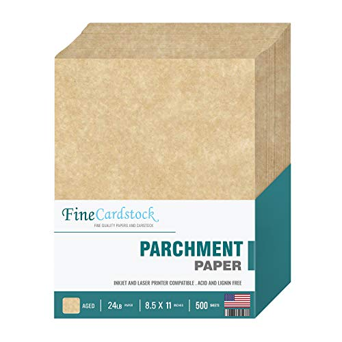 """8.5 x 11"""" Imitation Aged Parchment Paper – for Copy, Writing, Printing   Great for Letters, Invitations, Awards and Certificates   24lb Bond / 60lb Text (90 GSM)   500 Sheets Per Pack"""