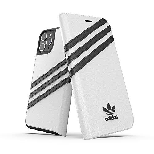 adidas Originals Kompatibel mit iPhone 11 Pro Hülle, schützende Folio PU Booklet Handyhülle - Weiß Schwarz
