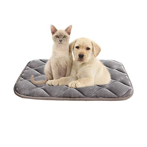 furrybaby Dog Bed Mat Crate Mat with Anti-Slip Bottom Machine Washable Pet Mattress for Dog Sleeping (S 26x18'', Sliver Grey Mat)