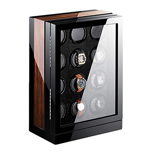 ZCYXQR Enrollador de Reloj automático, Caja de enrollador de Reloj Pantalla táctil LCD Luz LED Azul 15 Configuración de Modo de rotación Acabado de Piano