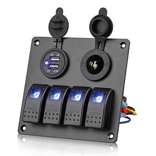 EEEKit Pannello Interruttore a bilanciere 4 Bande 12V, Interruttore a bilanciere a 4 Bande Presa accendisigari Doppia Porta USB Pannello Multifunzione con Spia LED Blu per Camion Nautico per Auto