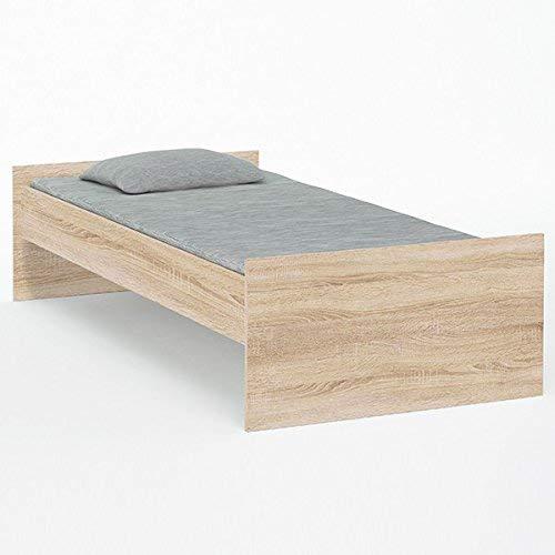 Jugendbett 90 * 200 cm grau Sonoma Eiche Jugendzimmer Kinderzimmer Gästebett Studenten Holz Bett Bettgestell Bettliege Jugendliege Kinderbett