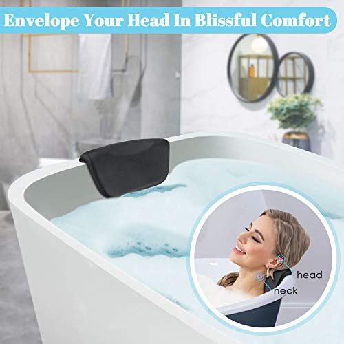 ESSORT Bathtub Pillow, PU Spa Pillow, Comfortable Great Support Bath Cushion Headrest, for Shoulder Neck Support Backrest, Suitable for Most Sizes of Bath Tubs, Jacuzzi (Black)
