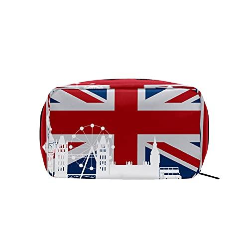 Kosmetiktasche für Damen und Mädchen, Trave, Make-up-Tasche, Kulturbeutel, Zubehör, Organizer, Vintage, Retro, Londoner Symbole, UK-Flagge