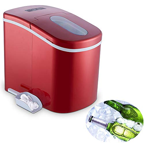 YONGTONG Portable Ice Maker Countertop, Easy-Use 8 Mins Automatic Ice Cube Maker, 26 lbs Ice Per Day, 2 Ice Cube Size, Quiet and Fast Electric Ice Maker Machine with Ice Scoop and Ice Basket, Red
