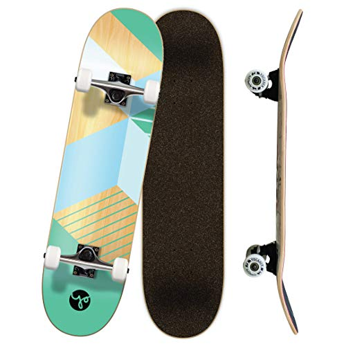"""Yocaher Geometric, Wander, Candy Series of Standard Skateboards and Cruisers (Complete-02 - 7.75"""" - Geometric Green, 7.75)"""