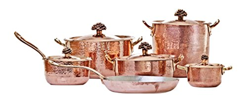 Amoretti Brothers Copper Cookware, Flower Lid, 11 Pieces Set