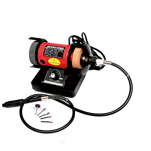ABEST Mini Bench Grinder and Polisher with Flexible Shaft and Accessories 150W