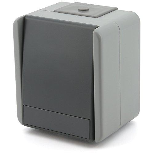 Feuchtraum Aufputz Schalter Steckklemmen Aufbau Außen Steckdose fach IP44 Grau (SCHALTER 2- POLIG SF20GY)