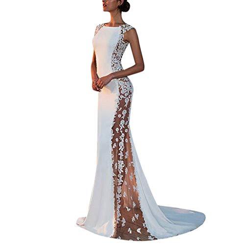 URIBAKY Lange Kleid Frauen elegant festlich Rockabilly Kleid Damen-Solide-Spitze-Abend-Party-Kleider Ball Prom Formale Hochzeit Brautjungfer