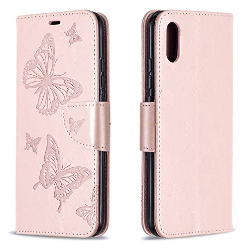 Hülle für Xiaomi Redmi 9A Hülle Handyhülle [Standfunktion] [Kartenfach] Schutzhülle lederhülle flip case für Xiaomi Redmi 9A - DEBF080837 Gold