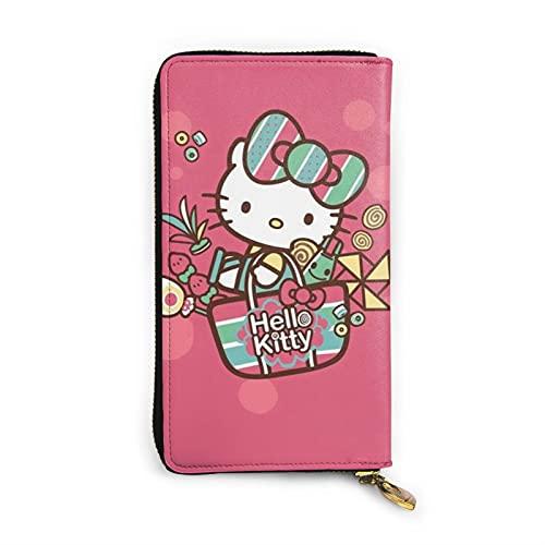 Cartoon Anime Cute Hello Kitty Wallet RFID Cartera de cuero genuino con cremallera para tarjetas titular organizador bolsa de embrague