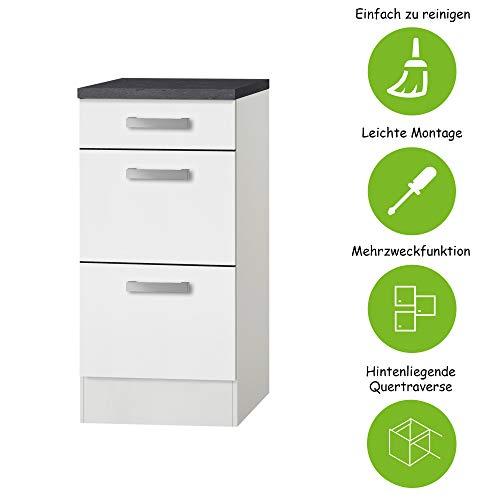 MMR Auszug-Unterschrank Küche DALLAS, Schubladenschrank, 1 Schublade, 2 Auszüge, 40 cm breit, Weiß