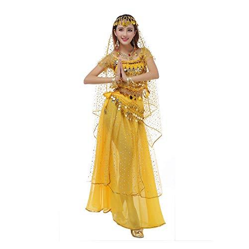 FHKL Bauchtanz Rock Kostüm Set Erwachsene Kleidung Indianer Anzug Halloween Karneval Chiffon Halbarm Rock Fünfteiliges Set: Oberteil/Rock/Taillenkette/Hauptgarn/Kopfbedeckung,Yellow