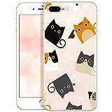 QULT Custodia Compatibile con iPhone 7 Plus / 8 Plus Cover Trasparente con Gli Animali Slim Transparent Silicone Magro Case con Disegni Cats