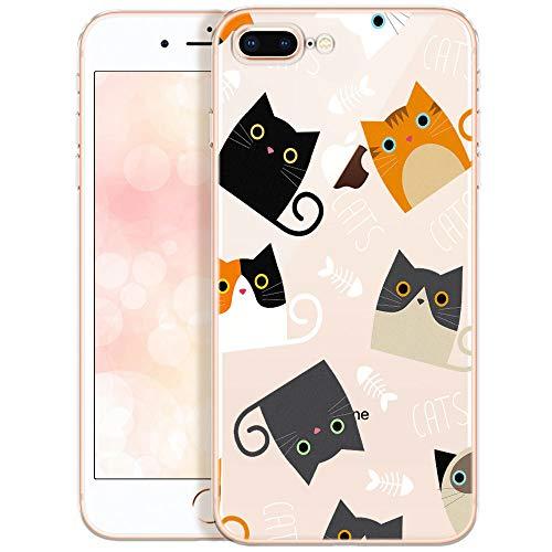 QULT Carcasa para Móvil Compatible con iPhone 7 Plus / 8 Plus Funda Transparente con Animales Slim Transparent Silicona Suave Case con Dibujo Cats