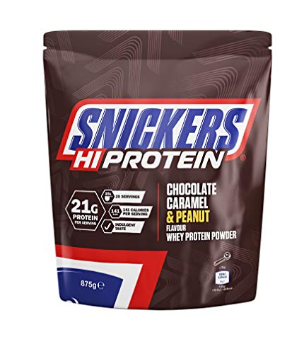 Snickers Hi Protein Chocolate, Caramel & Peanut Flavour Whey Protein Shake Powder 875g Pouch, Contains 25 Servings, 21g Protein Per Serving, Suitable for Vegetarians
