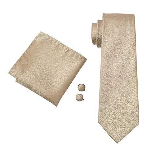 GPZFLGYN Cravatte da uomo Cravatte da collo in jacquard di seta dorata con gemelli Hanky Cravatte da uomo Festa di nozze d'affari