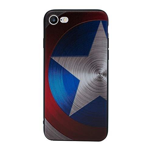 iPhone 6/6s 3D Marvel Estuche de Silicona/Cubierta de Gel para Apple iPhone 6s 6 (4.7') / Protector de Pantalla y Paño/iCHOOSE/Captain America - Proteger