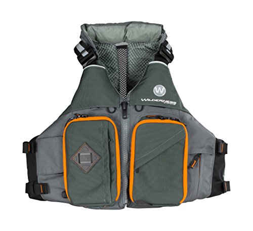 Wilderness Systems Fisher Kayaking Life Jacket   Easy Access Zippered Pockets Zippered Pockets   USCG Approved PFD - UL Type 4 Paddle Sports Life Vest   Medium/Large, Gray