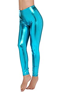 92% polyester, 8%Spandex Features: Shiny Wet Look Liquid Fabric, Wrinkle-resistant, Stretchy, Full-Length and Comfortable Leggings; Youthful, Soft, Sexy, Figure-hugging, and creates a nice silhouette. Versatile : Polyurethane (faux) legging adds a ch...