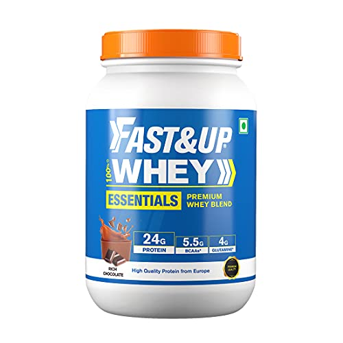 Fast&Up 100% Whey Protein (Rich Chocolate, 30 Servings) - 24g Protein, 5.5g BCAA, 4g Glutamine - Primary Source Isolate (2.1Lbs, 960gm)