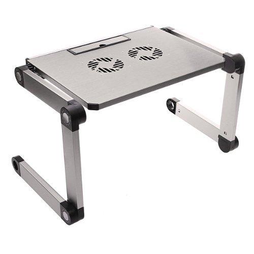 Tragbare verstellbare Aluminium Laptop Computer Schreibtisch/Ständer/Tisch belüftet W/CPU FANS notebook-macbook-ultra Licht Gewicht Ergonomische TV-Bett Knietablett Stand Up/sitzend silber