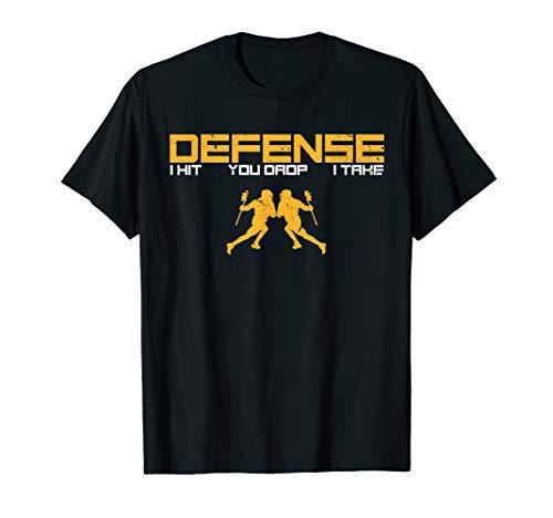Defense Defender Stick Lacrosse Player Sports Graphic Print T-Shirt