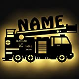 Feuerwehr Kinder LED Lampe mit Namen personalisiert für das Kinderzimmer Wand-Nachtlicht I Batteriebetrieben