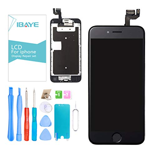 Ibaye Display LCD Schermo per iPhone 6S Nero (4,7 Pollici) Touch Screen Digitizer Parti di Ricambio (con Home Pulsante, Fotocamera, Sensore Flex) Utensili Inclusi