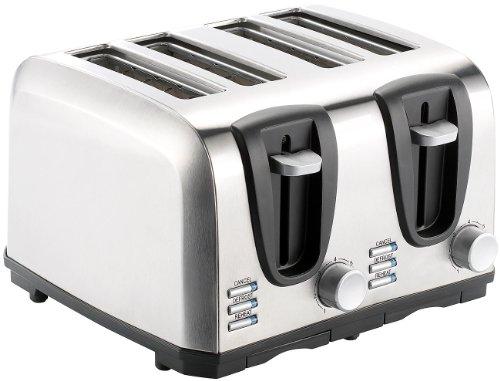 Rosenstein & Söhne Edelstahltoaster: Edelstahl-Toaster für 4 Scheiben, 1300 W (Brot-Toaster)