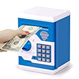 Safe Coin Bank Birthday Gift Toys for 3-12 Year Old Girl Boy,Refasy Children Fun Toys 8-12 Kids ATM Bank Machine with Bank Card Money Bank for Cash Toy Electronic Coin Banks Box for Kids Blue
