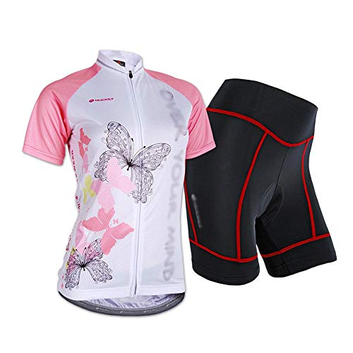 Maillot Ciclismo Mujer Cclismo Conjunto de Ropa + Culote Pantalones Acolchado 3D...