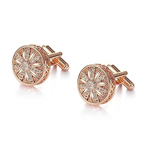 Gemelos redondos con circonita cúbica de cristal para hombres en colores blanco/oro rosa (color metálico: oro rosa)
