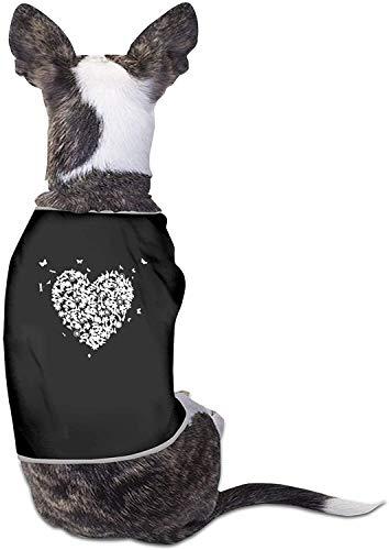 Love Heart Funny Butterfly Ropa para Perros Camisas con Estampado Lindo para Gatos y Mascotas Traje de cumpleaños Suave