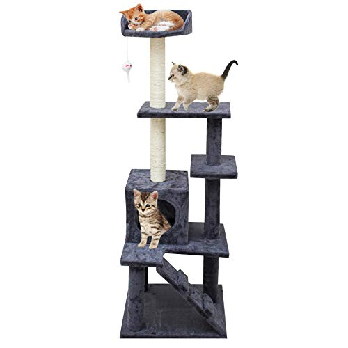67i Multi-Level Cat Tree Cat Tower with Scratching Posts Cat Condo Cat House 55 inches Activity...