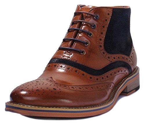 Justin Reece Herrenstiefel aus Leder, mit Schnürung, Gummisohle, zweifarbig, Used-Look, formeller Stiefel mit seitlichem Reißverschluss, Braun - braun blau - Größe: 43 EU