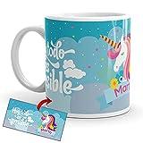 Kembilove Taza Personalizada Unicornios – Tazas Desayuno Unicornios para niñas con...